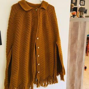Vintage crocheted cape in mustard